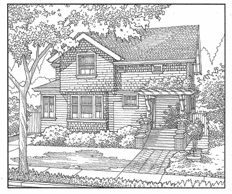 Freehand Line Drawing of Vintage Home in San Jose, CA.
