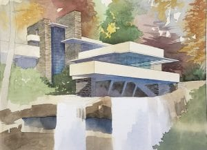 Watercolor Painting of Frank Lloyd Wright's Falling Water by Jeffrey Michael George