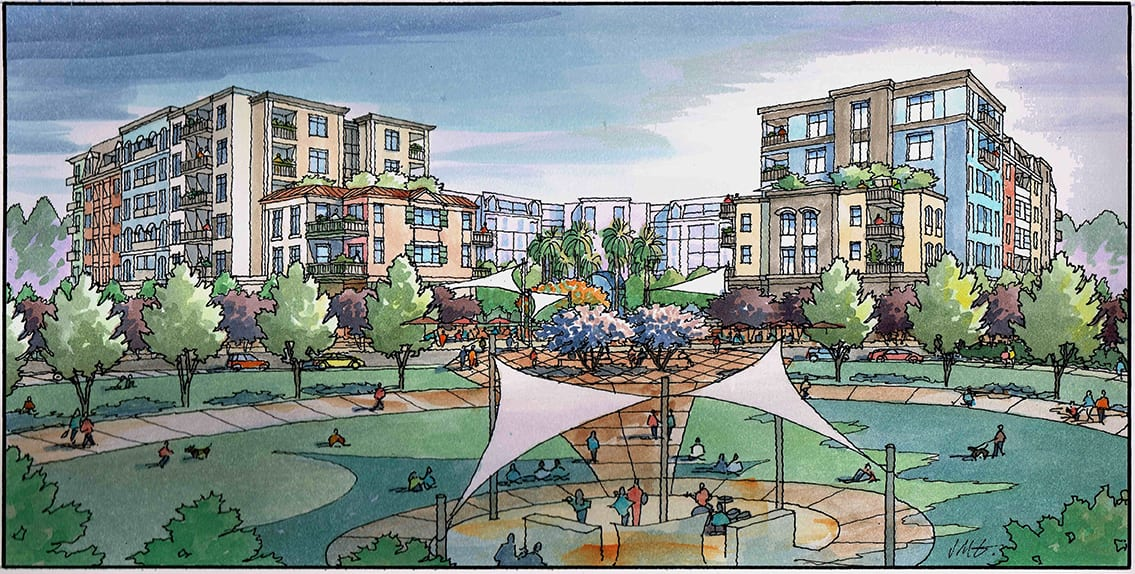 Architectural Illustration for Cambrian Park Mixed Use Village