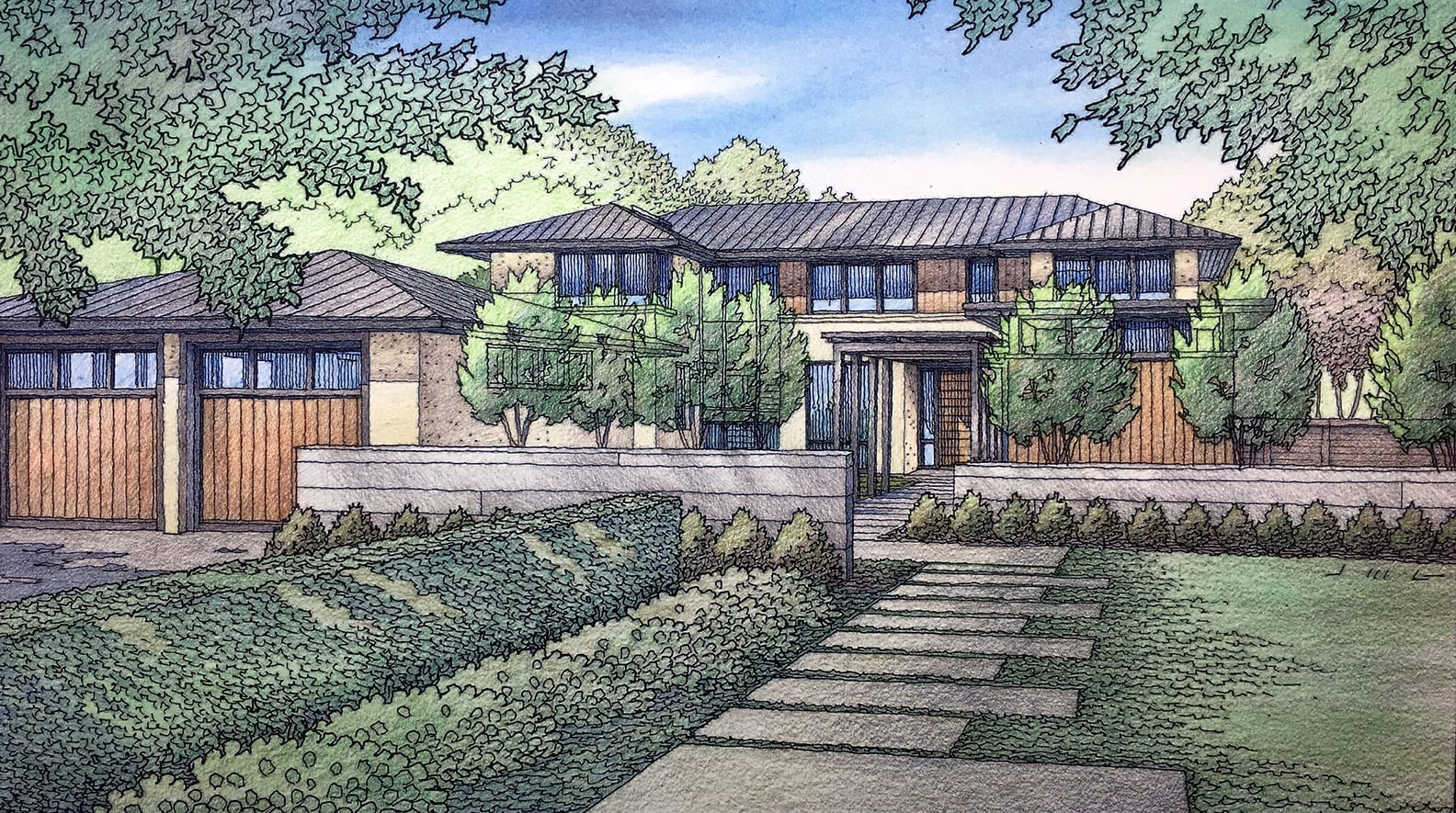 Color Architectural Rendering of Woodside Residence