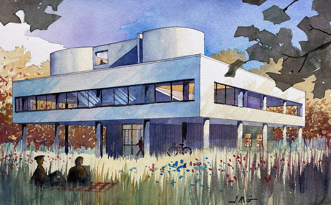 Watercolor Painting of Villa Savoy by French Architect Le Corbusier